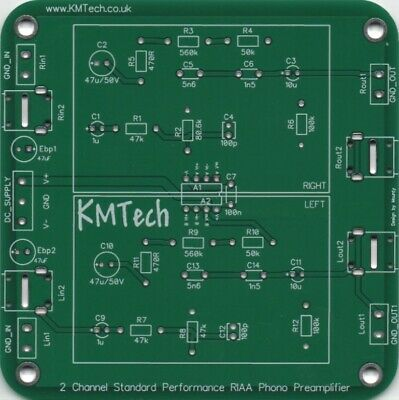 High Quality RIAA Phono Moving Magnet Preamp PCB DIY.