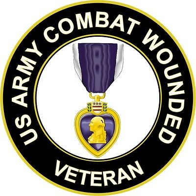"Army Combat Wounded 'Purple Heart Medal' Veteran 5.5"" Sticker / Decal"