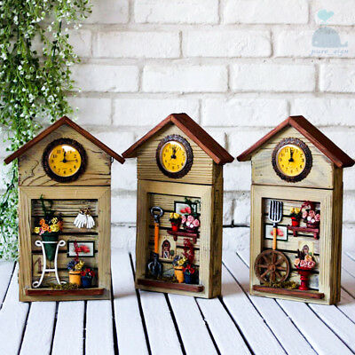 Country Living Style Wooden Wall Key Cupboard Cabinet Storage Box 6 / 4 Hooks