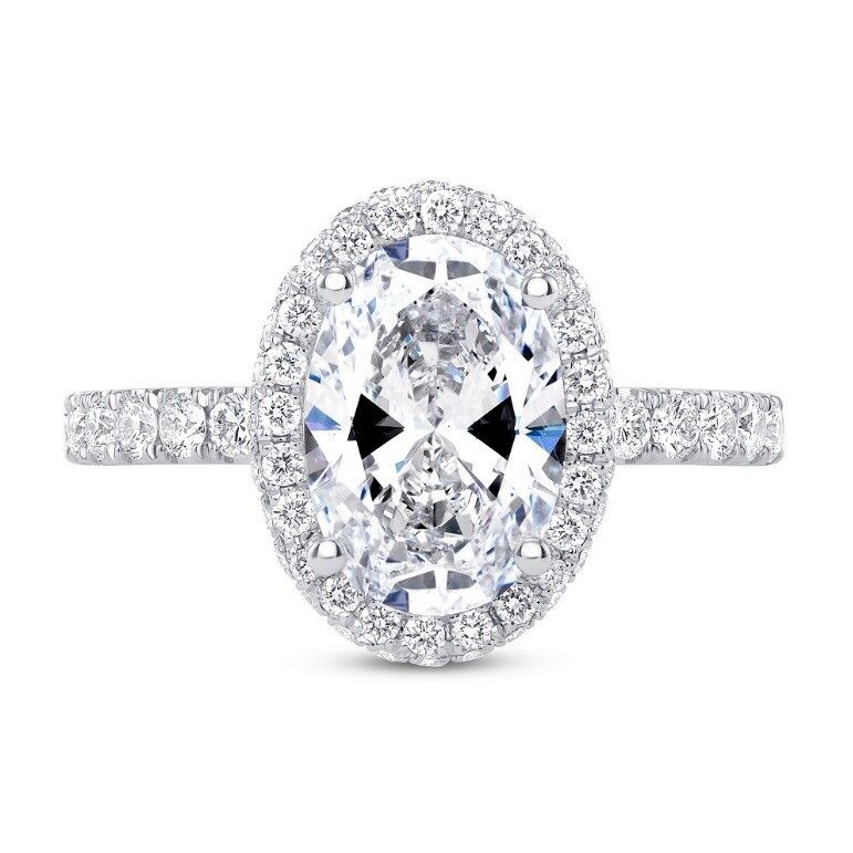 1.70 Ct Oval Cut Halo Diamond Engagement Round Pave & U-Setting F,VS1 GIA Center
