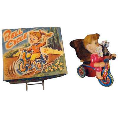 Celluloid & Tin Girl Riding Tricycle Wind-up Toy - Mint In Box ()