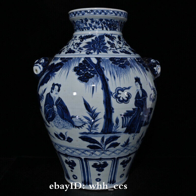 "17"" China antique porcelain Yuan Dynasty Blue and white figure tiger head can"