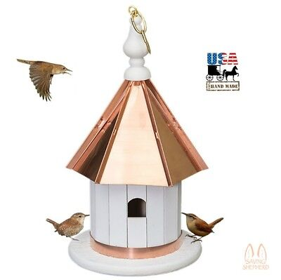 "14"" HANGING WREN BIRDHOUSE - Copper Roof & Trim Bird House Amish Handmade USA"