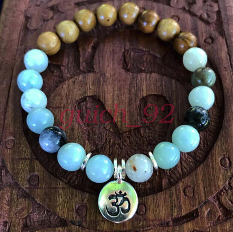 Amazonite with Olivewood Accent Beads mala lucky bracelet men pray buddhist #92