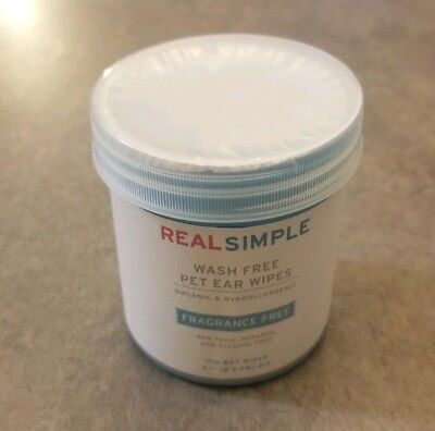 Real Simple Wash Free Pet Ear Wipes 100ct Fragrance Free Organic Hypoallergenic