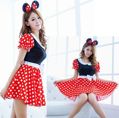 Halloween Karneval Damen Adults Mickey Mouse Kleid Kostüm Minnie Polka Rot Cute