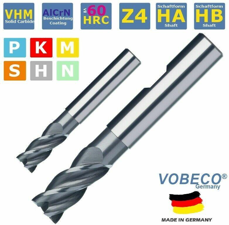 VHM Schaftfräser Z4 3-20 mm VARIO Halsfreistellung = tiefer FRÄSEN HPC VOBECO