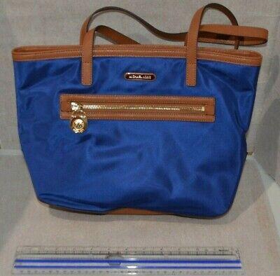 MICHAEL KORS Kempton Blue Nylon & Brown Leather Tote Bag Handbag - New with Tags