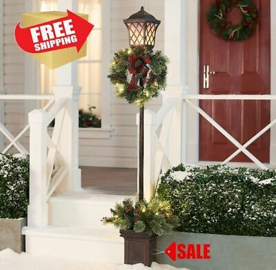6 FT Christmas Xmas Lamp Post Tree Stand Wreath Clear Light Outdoor Porch Decor