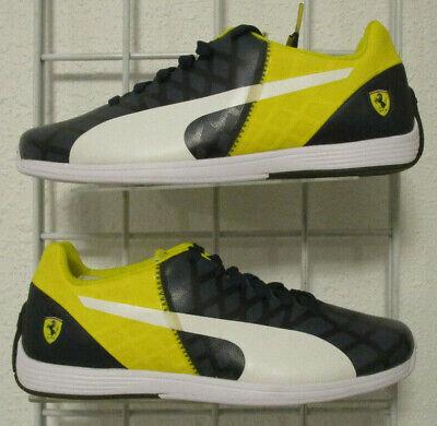 Men's Puma Ferrari EvoSpeed 1.4 Sneakers, New Navy Yellow Sport Walking Shoes 11