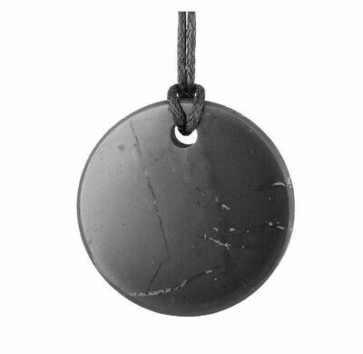 Shungite Stone Pendant Round Circle Original Healing Crystal EMF Karelia Russia