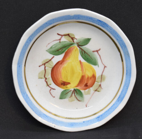 Antique Pottery Butter Pat Hand Painted Pears Blue Band