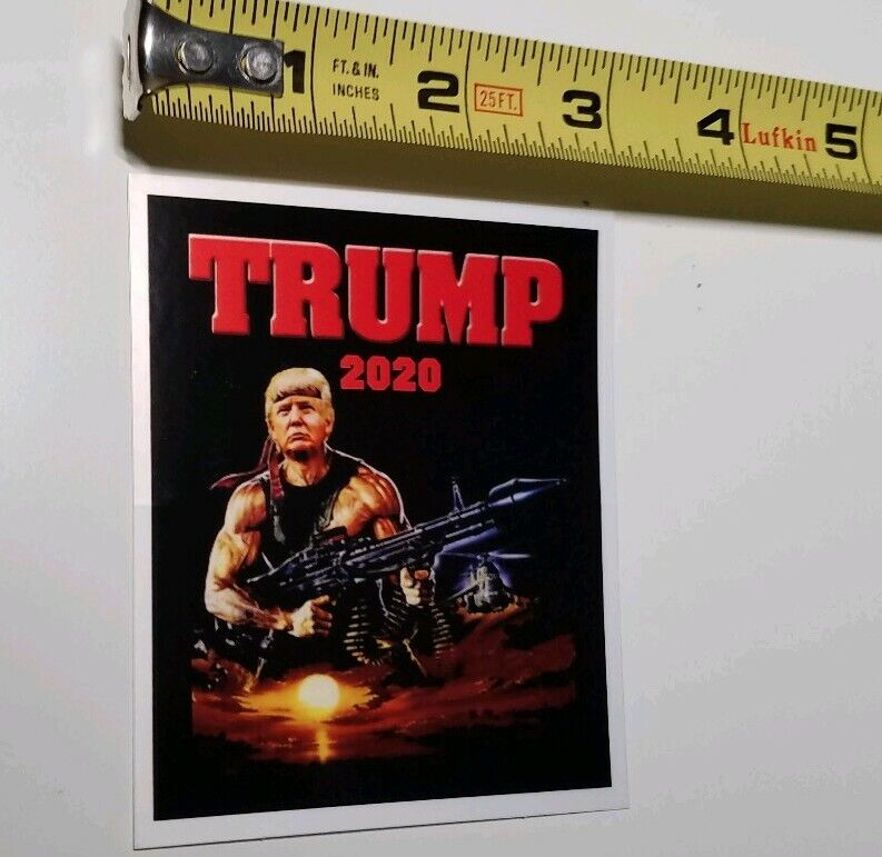 Funny Donald Trump Political Sticker Depicted As Rambo Trump 2020