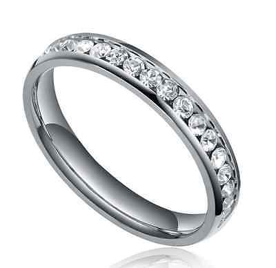 Stackable Cubic Zirconia Band - Stainless Steel Stackable Cubic Zirconia Eternity Ring Wedding Band 4MM