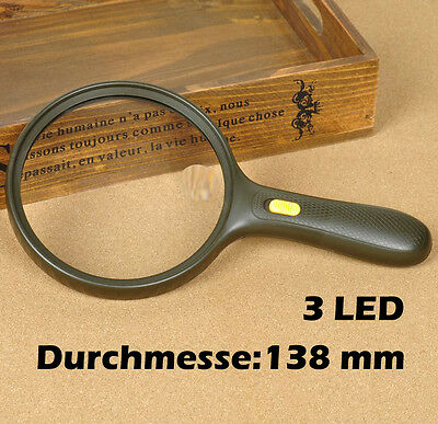 große Leselupe Vergrößerungsglas Lesehilfe Lupe 138mm 3 LED Handlupe NEU
