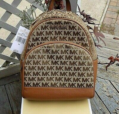 Authentic MICHAEL KORS MK ABBEY Signature Backpack Beige /Luggage Gorgeous NWT =