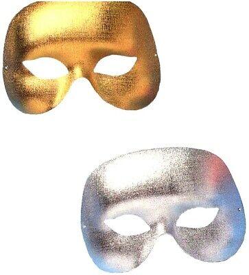 Gold Silber Cocktail Maskerade Augenmaske Herren Kostüm Halbschuhe Party ()