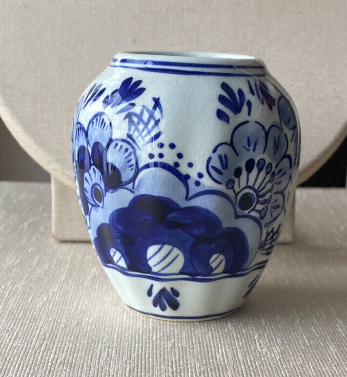Vintage Hand Painted Delft Holland Small Porcelain Blue & White Floral Vase