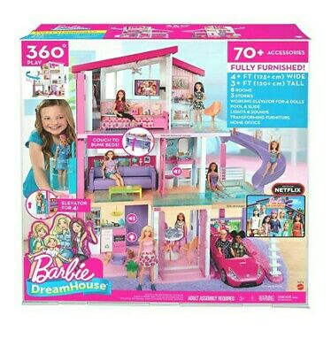 Free shipBarbie Dreamhouse Dollhouse with Pool, Slide and Elevator gift Brand
