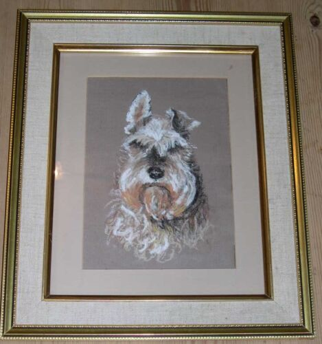 ORIGINAL MINIATURE SCHNAUZER PASTEL PAINTING FRAMED SIGNED 1975