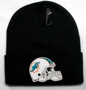 online store 7fc6d 07e4d Miami Dolphins HEAT Applied Flat Logo on BLK Beanie Knit Cap hat!