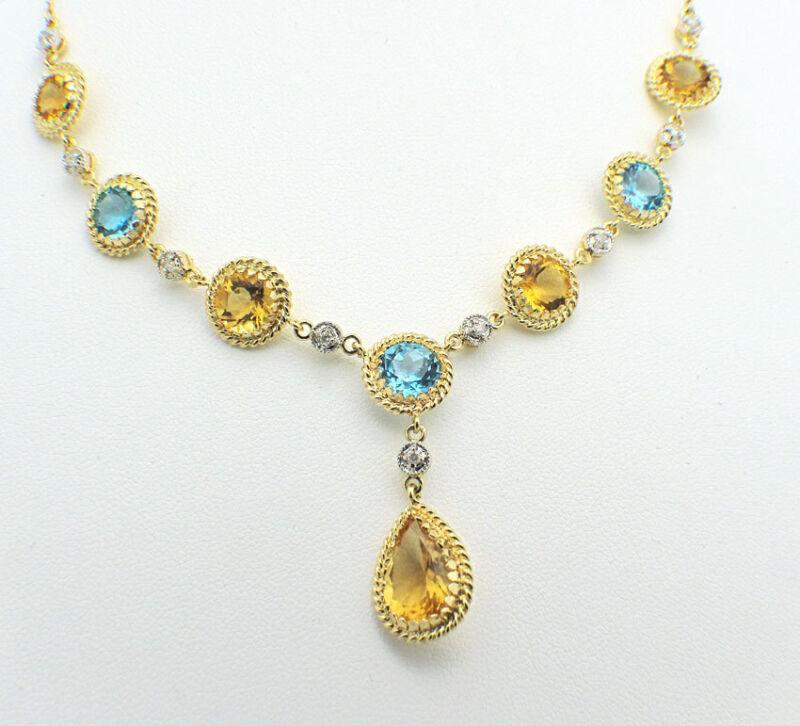 Gorgeous 14k Yellow Gold Blue & Yellow Topaz Diamonds Necklace Lariat