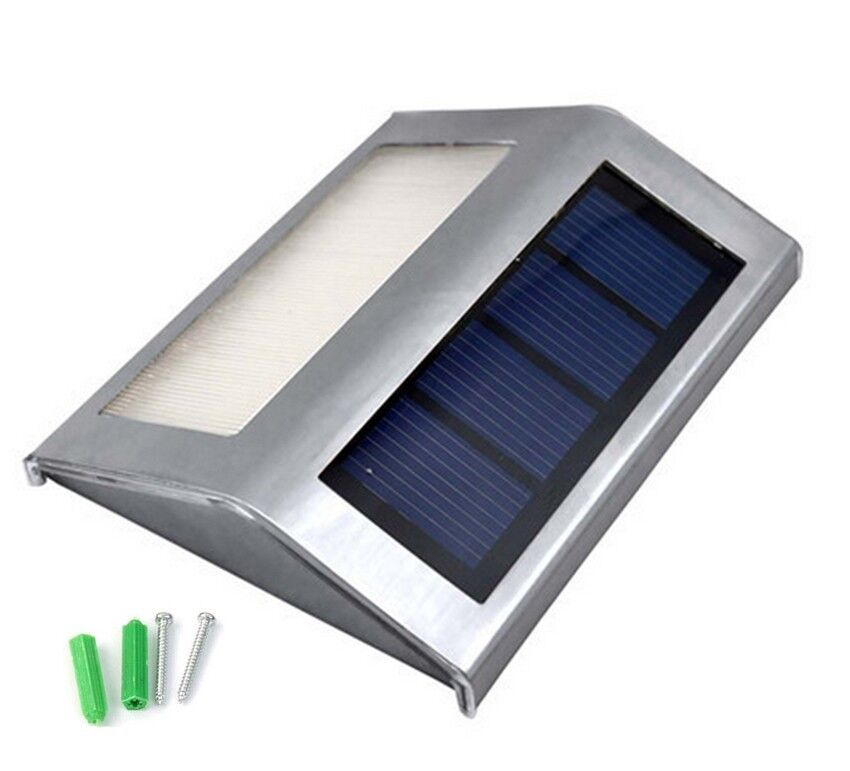 2x Solar Power Steel White LED Light Pathway Path Step Stair Wall Garden  Yard Lamp. main image