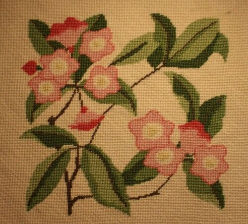 Pink Roses Flowers Floral Needlepoint Completed Finished Tan Background
