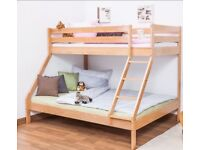 Triple Sleeper Bunk Bed for both kids and adults, solid beech wood, clearly varnished