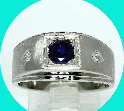 Vintage mens 1.10CT VS diamond sapphire ring 14K WG 8.5 GM sz 9.5
