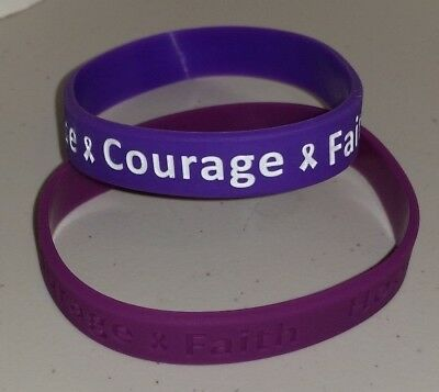 ALZHEIMERS AWARENESS SILICONE BRACELET - HOPE - COURAGE - RIBBON -MARCH OF DIMES