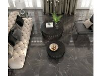 Gloss Porcelain Black Floor Tiles suitable for kitchens, bathrooms, lounges, hallways