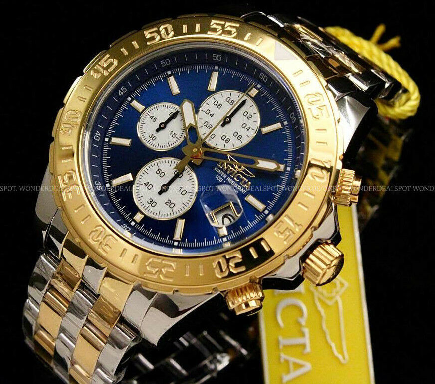 Invicta 18851 Men's Aviator Chronograph Two-Tone Stainless Steel Blue Dial