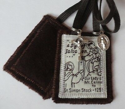 Traditional Catholic Scapular All edges sewn No fraying (2 layers100% Brown Wool