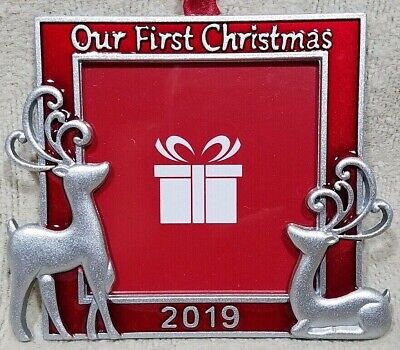 OUR FIRST CHRISTMAS TREE ORNAMENTS PHOTO PICTURE 2019 REINDEER RED 2