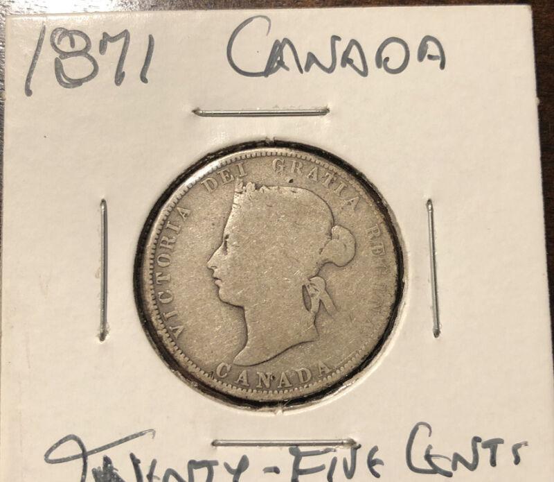 Canada 1871 Silver 25 Cents Quarter Queen Victoria British Coin