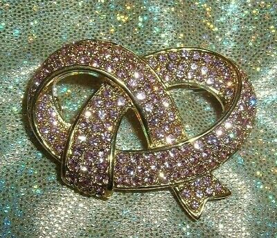 Swarovski Signed Breast Cancer Fancy Pink Pave Ribbon Pin Brooch New OS