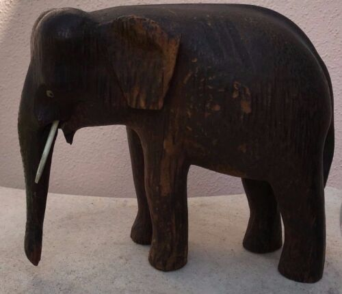 OLD !!! WOOD-CARVED  ELEPHANT WITH TUSKS