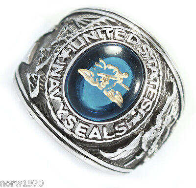 Mens Us Navy Seals Military Rhodium Plated Ring Size 14
