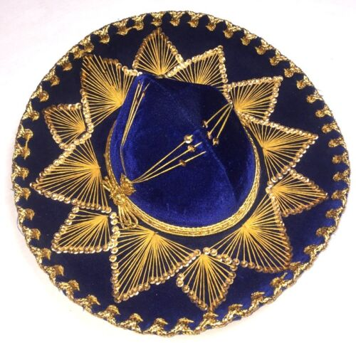 GIL y BLAY Authentic Mexican Sombrero Blue Gold Velvet Metallic Mexico Hat