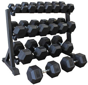 Dumbbells, dumbbell rack, squat rack