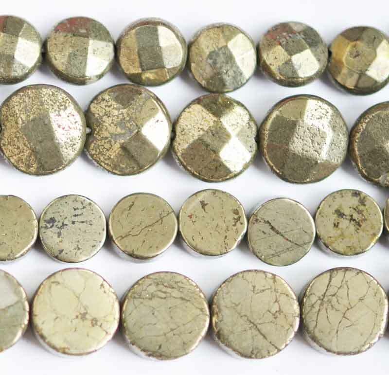 """Coin Faceted Smooth Natural Pyrite Gemstone Beads 15"""" Hand Jewelry 8MM 10MM"""