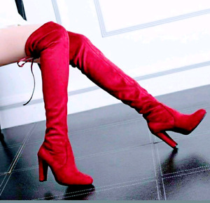 BRAND NEW! Red Thigh High Boots - Size 6.5\7 - $40