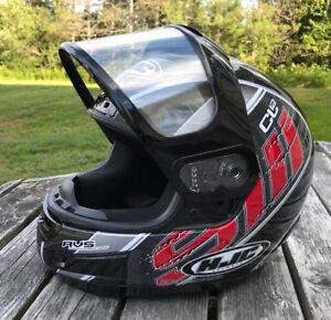 Black, Red and White HJC Helmet