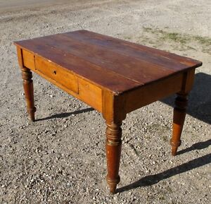 REAL ANTIQUE PINE HARVEST TABLE-IDEAL DESK/DINING WORK TABLE