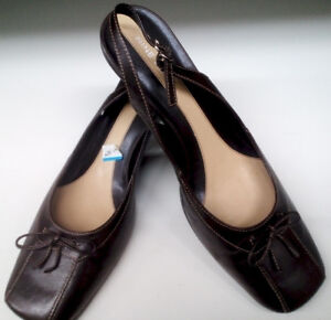 ****Size 9 ½ Leather Sling Backs by Nine West – NEW****