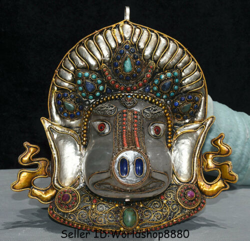 "11.2"" Old Tibet Buddhism Copper Gilt Crystal Filigree Inlay Gem Pig Face Mask"