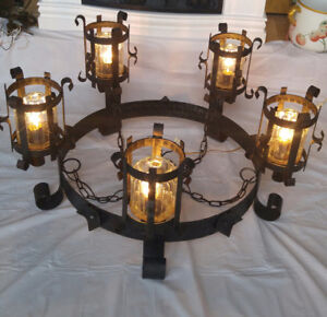 Antique Spanish Revival Chandelier Hammered Iron Arts & Crafts C