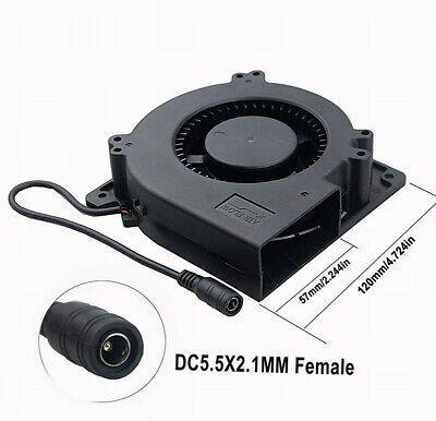 Ball Bearing 12V 120mm 32mm Blower Centrifugal Fan DC 5.5x2.1MM Female Interface ()