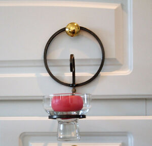 PEWTER & GLASS CANDLE WALL SCONCES-4 in Total